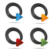 3D abstract set ring pearl triangular pyramid symbol corporate design icon logo trademark — Stock Vector