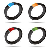 3d abstracto conjunto anillo circular joyería perla símbolo diseño corporativo icono insignia marca registrada — Vector de stock