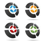 3d abstracto conjunto anillo circular cruz elemento cubo símbolo diseño corporativo icono insignia marca registrada — Vector de stock