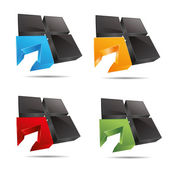 3D abstract set corporate cube window square arrow set symbol corporate design icon logo trademark — Stock Vector
