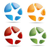 3d abstract instellen corporate starfish sterren strand ring instellen symbool huisstijl pictogram logo handelsmerk — Stockvector
