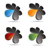 3D abstract set corporate flower drip sun round set symbol corporate design icon logo trademark — Stock Vector