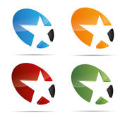 3d abstracto conjunto a estrella fugaz starlets starfish símbolo diseño corporativo icono insignia marca registrada — Vector de stock