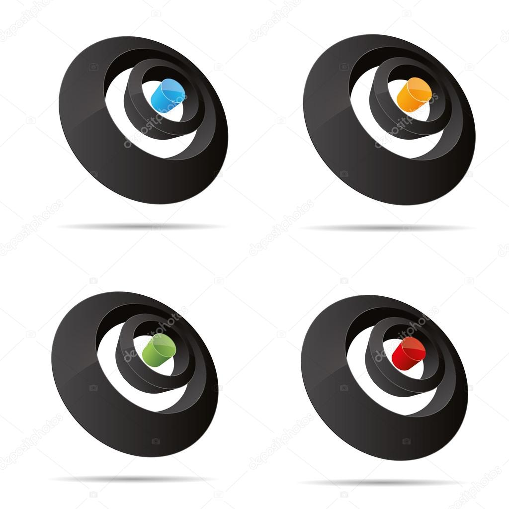 在adobe illustrator 中创建在白色背景上的 3d 抽象设置圆形圆环点针