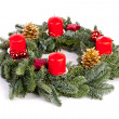 Advent wreath candles, flame christmas decoration xylophone tannenzweig cinnamon stick — Stock Photo