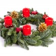 Advent wreath candles, flame christmas decoration xylophone tannenzweig cinnamon stick — Stock Photo #14650651
