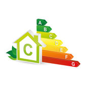 Energy class energieberatung bar chart efficiency rating electrical appliances consuming environment logo — Stock Vector