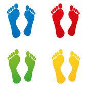 Sniff foot footprint footprints tracing kindergarten barefoot off track set — Stock Vector