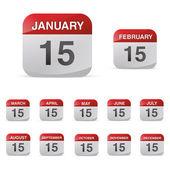 Calendar set icon symbol month year calendar sheet kalendarium birthday holiday office diary — Stock Vector