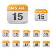 Calendario establecido icono símbolo mes año calendario hoja kalendarium cumpleaños vacaciones oficina diario — Vector de stock