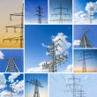 Power set collage pole cloud sky power line powered electricity electricity dusk sunset — Stock Photo #32754929
