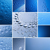 Water drop set collection dew drop effect nano effect lotuseffekt blue impregnation repels rain deflector — Stock Photo