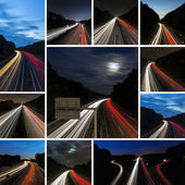 Long time exposure set collection freeway cruising car light trails streaks of light speed highway — Stock Photo
