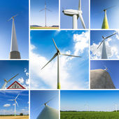 Windmills set collage farming windmill wind-turbine wind farm electricity energy economy — Stock Photo