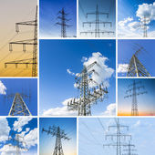 Power set collage pole cloud sky power line powered electricity electricity dusk sunset — Stock Photo