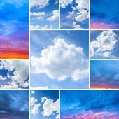 Sunlight sunrise set collage clouds sky blue hour colors red dusk light strum weather — Stock Photo