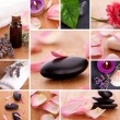 Basalt scented candle set spa massage collage soap cosmetic gebera zen chillout rosenblatt — Stock Photo