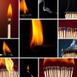 Matchstick matchstick set collection light smoke smoldering fire flame candle lighter sulfur coal — Foto Stock