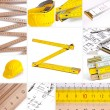 Helmet set architecture collage construction house construction building work to renovate ruler too — Stock fotografie