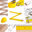 Helmet set architecture collage construction house construction building work to renovate ruler too — Stock Photo