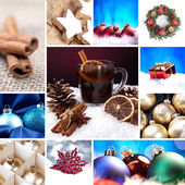 Christmas bell set collage mulled wine Christmas tree advent christ child christmas market new year — Stock Photo