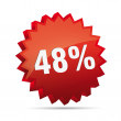 48 forty-eighth percent reduced Discount advertising action button badge bestseller shop sale — Stock Vector