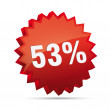 Stock Vector: 53 Fifty-three percent reduced Discount advertising action button badge bestseller shop sale
