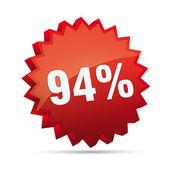 94 percent 3D Discount advertising action button badge bestseller percent free shop sale — Stock Vector