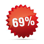 69 percent 3D Discount advertising action button badge bestseller percent free shop sale — Wektor stockowy