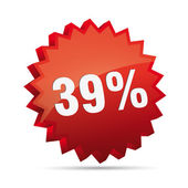 39 thirty-nine percent reduced Discount advertising action button badge bestseller shop sale — Stock vektor
