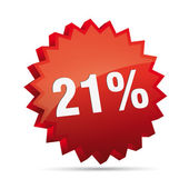21 twenty-first percent reduced 3D Discount advertising action button badge bestseller shop sale — Stock Vector
