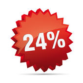 24 twenty-fourth percent reduced Discount advertising action button badge bestseller free — Stock Vector
