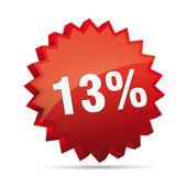 13 thirteen percent reduced 3D Discount advertising action button badge bestseller shop sale — Stock Vector
