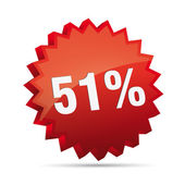 51 fifty-first percent reduced 3D Discount advertising action button badge bestseller shop sale — Stok Vektör