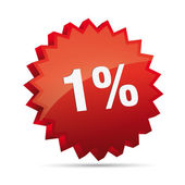 1 one percent Reduced 3D Discount advertising action button badge bestseller free shop sale — Stok Vektör