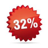 32 thirty-second percent reduced Discount advertising action button badge bestseller free shop sale — Stockvektor