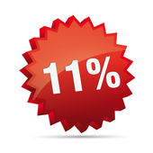 11 eleven percent reduced Discount advertising action button badge bestseller free shop sale — Stock Vector