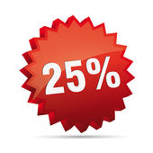 25 twenty-five percent reduction 3D Discount advertising action button badge bestseller shop sale — Stock vektor