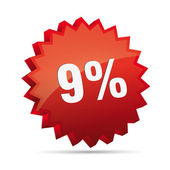 9 nine percent reduced Discount advertising action button badge bestseller free shop sale — Vetor de Stock