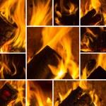 skorsten rök eld låga bränna energi mysig collage satt vintern ved skorsten mönster svart — Stockfoto #34822135