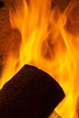 Chimney smoke fire flame burn energy cozy winter firewood chimney pattern black — Foto de Stock