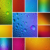 Waterdrops spectral sun blue gold orange red green colors gradient set collage rainbow colorful beading lotuseffekt tau sealing — Stock Photo