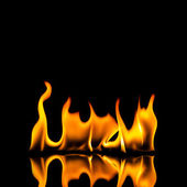 Fire flame explosion black brand hob grill fireplace sharp campfire volcano arson wall — Stock Photo