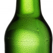 Beer bottle bottleneck condensation dripping green chilly dew beer froth brewery disco summer party — Stock Photo #42427559