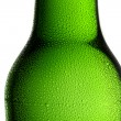 Beer bottle bottleneck condensation dripping green chilly dew beer froth brewery disco summer party — Stock Photo #42427785