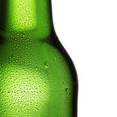 Beer bottle bottleneck condensation dripping green chilly dew beer froth brewery disco summer party — Stock fotografie