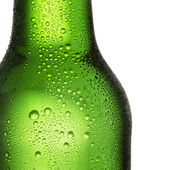 Beer bottle bottleneck condensation dripping green chilly dew beer froth brewery disco summer party — Foto de Stock