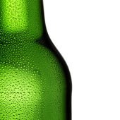 Beer bottle bottleneck condensation dripping green chilly dew beer froth brewery disco summer party — Stockfoto