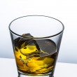 Whiskey glass reflection ice drink bourbon rocks alcoholic alcohol scotland spirit tennessee — Stock Photo #44539977