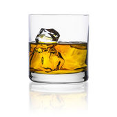 Whiskey ice-free glass plate isolated bourbon rocks scotland alcoholic spirit tennessee — Stock Photo